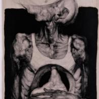 Caballero de la mano en el estómago